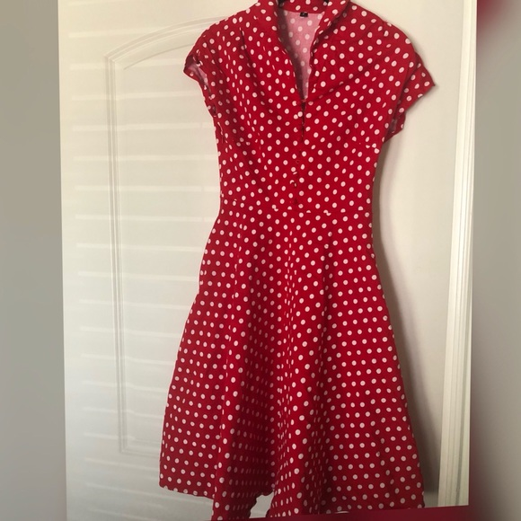 Vintage Dresses & Skirts - Vintage Red and White Polka Dot Dress